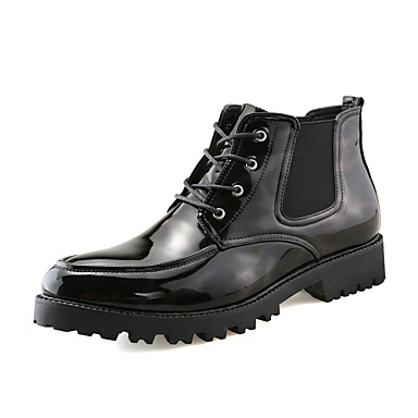 Hombre Zapatos PU Primavera / Otoño Confort / Botas de Moda Botas Blanco / Negro dnK2U4kI