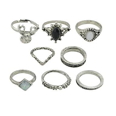 billige Motering-Dame Ring Set Midiringe Stable Ringer 8pcs Sølv Imitasjonsturmalin Legering Sirkelformet damer Grunnleggende Mote Daglig Stevnemøte Smykker Rev