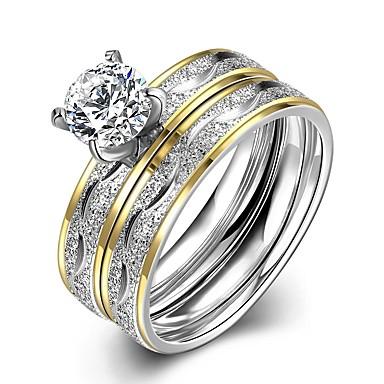 billige Engasjement-Herre Ring Set 2pcs Gull Titanium Stål Rustfritt stål Sirkelformet Bryllup Daglig Smykker Tofargede