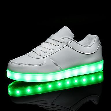 levne Dámské tenisky-Pánské / Dámské Tenisky LED boty Rovná podrážka LED PU Pohodlné / Svítící boty Jaro / Podzim Bílá / Černá / EU40