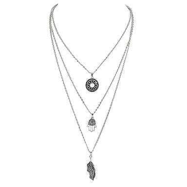 levne Dámské šperky-vrstvené Náhrdelníky dlouhý náhrdelník Leaf Shape dámy Slitina Stříbrná Ruka osudu 47 cm Náhrdelníky Šperky Pro Večírek Škola