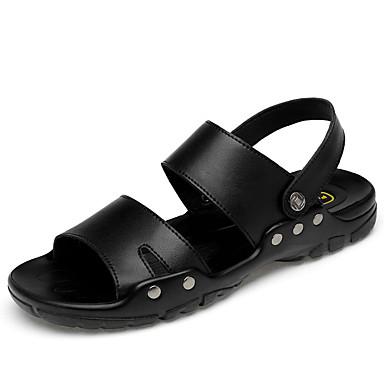 Ανδρικά Δερμάτινα παπούτσια Δερμάτινο Καλοκαίρι Δουλειά / Καθημερινό Σανδάλια Περπάτημα Αναπνέει Μαύρο