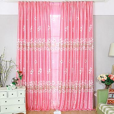 Blackout Curtains Drapes Living Room Floral Contemporary Cotton ...