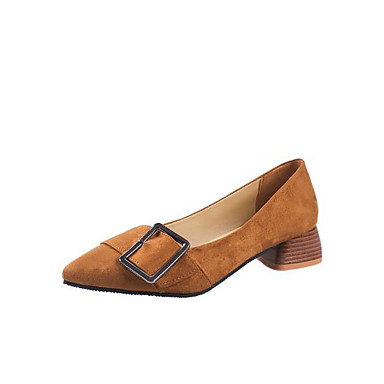 Mujer Zapatos Cuero de Napa Primavera / Otoño Confort Oxfords Tacón Cuadrado Dedo Puntiagudo Negro / Beige / Color Camello Gzq0QLiDX