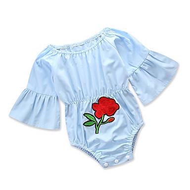 povoljno Odjeća za bebe-Dijete Djevojčice Aktivan Dnevno / Praznik Jednobojni / Cvjetni print Cvijet / Naborano / Klasičan Dugih rukava Pamuk Jednodijelno Plava / Slatko / Dijete koje je tek prohodalo