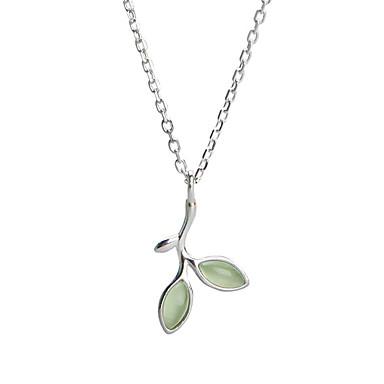 povoljno Dizajnerski nakit-Žene Ogrlice s privjeskom Leaf Shape dame Jednostavan slatko Moda Dragi kamen S925 Sterling Silver Svijetlo zelena 44.5 cm Ogrlice Jewelry Za Dar Dnevno