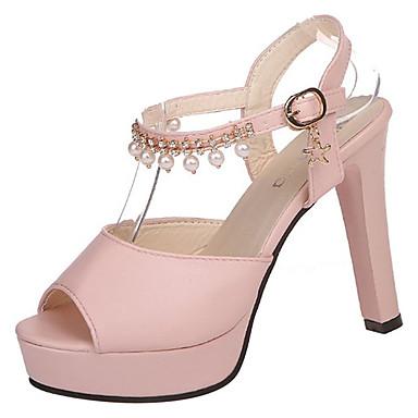 Mujer Zapatos PU Verano Confort / Pump Básico Sandalias Tacón Cuadrado Blanco / Plata / Rosa riXDlM