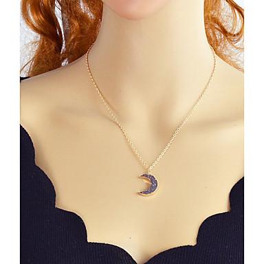 levne Dámské šperky-Turmalín Syntetický turmalin Náhrdelníky s přívěšky MOON Crescent Moon dámy Slitina Zlatá Stříbrná 55 cm Náhrdelníky Šperky Pro Večírek Škola