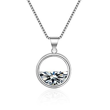 Dame Diamant Kubisk Zirkonium Anheng Halskjede geometriske damer Koreansk Mote Zirkonium Legering Hvit 55 cm Halskjeder Smykker Til Seremoni Ferie