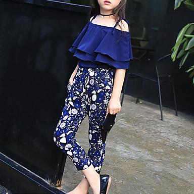 preiswerte Sommerkleidersets für Mädchen-Kinder Mädchen Blumig Blumen Halbe Ärmel Standard Baumwolle Kleidungs Set Marineblau