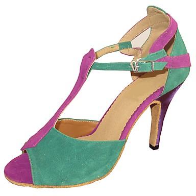 Žene Plesne cipele Brušena koža Cipele za latino plesove Sandale Deblja visoka potpetica Moguće personalizirati Zelen