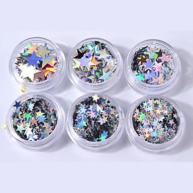 6pcs Paljetter Til Glødende / Spesiell design Neglekunst Manikyr pedikyr Glitters Fritid / hverdag
