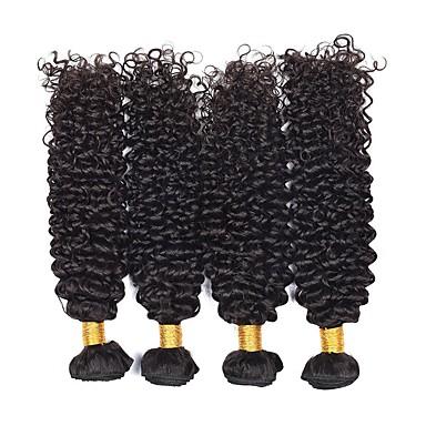 4 pakker Brasiliansk hår Kinky Curly Ekte hår Hairextensions med menneskehår 8-28 tommers Naturlig Farge Hårvever med menneskehår Ekstensjon Hot Salg Hairextensions med menneskehår / 8A