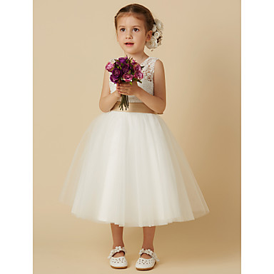 cheap Baby & Kids-Princess Knee Length Wedding / First Communion Flower Girl Dresses - Lace / Tulle Sleeveless Jewel Neck with Sash / Ribbon / Bow(s)