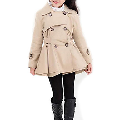 cheap Baby & Kids-Kids Girls' Street chic Daily Solid Colored Long Sleeve Long Trench Coat Pink