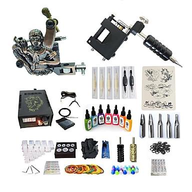 BaseKey Tattoo Machine Startkit - 2 pcs tattoo maskiner med 7 x 15 ml tatovering blekk, Variabel hastighet, Profesjonell Legering LCD strømforsyning No case 20 W 1 x roterende tatoveringsmaskin til