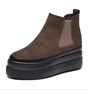 Mujer Zapatos Cuero Otoño / Invierno Botas Camperas / Botas de nieve / Botas de Combate Botas Tacón Plano Dedo redondo Botines / Hasta el X2BTifOa