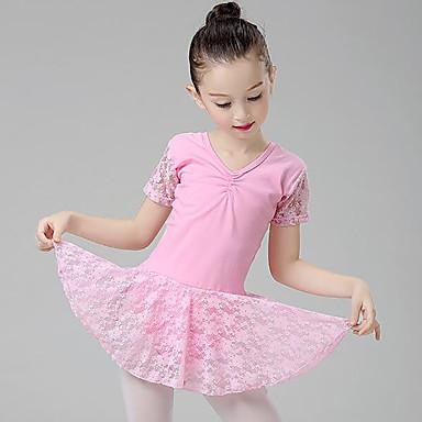 Ballet Kjoler Jente Trening / Ytelse Bomull Blonder / Ruchiing Kortermet Naturlig Kjole
