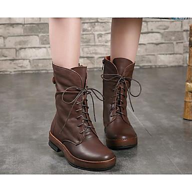 Footlocker À Vendre Choisir Une Meilleure Ligne Mujer Zapatos Cuero Otoño / Invierno Confort / Botas de Moda Botas Tacón Cuadrado Mitad de Gemelo Negro / Marrón txdItbD