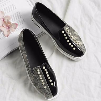 Mujer Zapatos PU Primavera / Otoño Confort Zapatos de taco bajo y Slip-On Media plataforma Negro / Rosa FS0dwUf