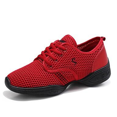 preiswerte Tanz Sneaker-Damen Tanzschuhe Tüll Tanz-Turnschuh Sneaker Flacher Absatz Maßfertigung Schwarz / Fuchsia / Rot / EU41