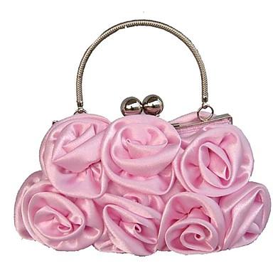Γυναικεία Ανάγλυφη Μετάξι Βραδινή τσάντα Φλοράλ Ρουμπίνι / Ανθισμένο Ροζ / Καφέ