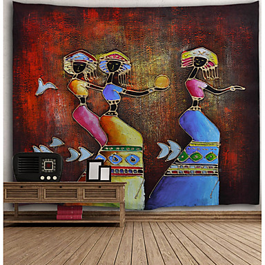cheap Wall Tapestries-Oil Painting Style Wall Tapestry Art Decor Blanket Curtain Hanging Home Bedroom Living Room Decoration Parrot Abstract Exotic Women