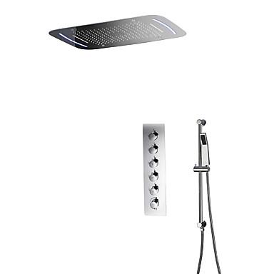Βρύση Ντουζιέρας - Σύγχρονο Χρώμιο Επιτοίχιες Κεραμική Βαλβίδα Bath Shower Mixer Taps / Ορείχαλκος