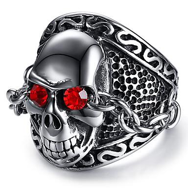 billige Motering-Herre Statement Ring Syntetisk Ruby Sølv Rustfritt stål Punk & Gotisk Skjelett Cool Fest / aften Daglig Smykker Indgraveret Hodeskalle Calaveras