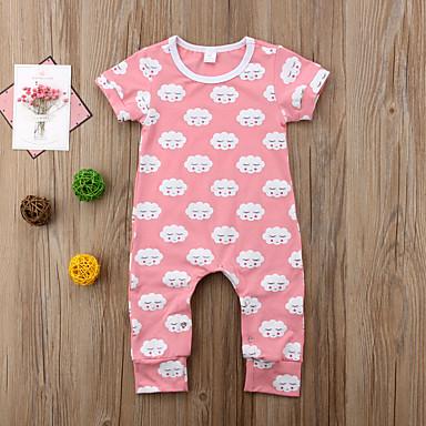 Baby Unisex Aktiv / Grunnleggende Daglig Trykt mønster Eventyr Tema / Grunnleggende Kort Erme Bomull Endelt Rosa