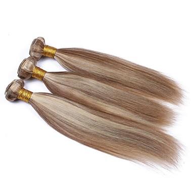 povoljno Ekstenzije za kosu-3 paketa Brazilska kosa Wavy Ljudska kosa Ombre Jedan Pack Solution Ekstenzije od ljudske kose 10-28 inch Višebojne Isprepliće ljudske kose Nježno Žene Ombre Proširenja ljudske kose / 8A