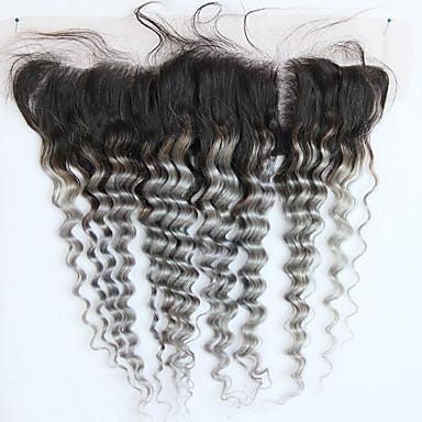 povoljno Ekstenzije od ljudske kose-4 paketića Brazilska kosa Wavy Remy kosa Ombre Jedan Pack Solution Ekstenzije od ljudske kose Siva Isprepliće ljudske kose s dječjom kosom Rasprodaja Ombre Proširenja ljudske kose / 10A