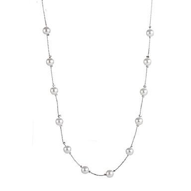 levne Dámské šperky-Tanzanit Obojkové náhrdelníky dlouhý náhrdelník dámy Sladký Módní Perly Slitina Stříbrná 50+5 cm Náhrdelníky Šperky Pro Dovolená Jdeme ven
