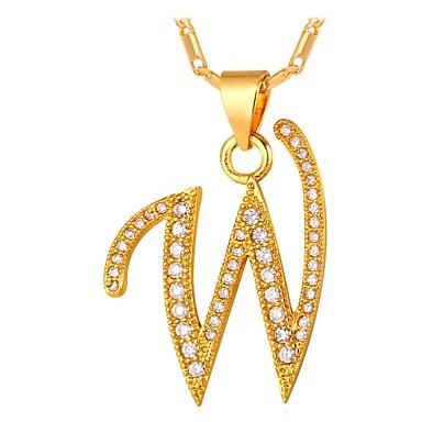povoljno Modne ogrlice-Muškarci Kubični Zirconia Ogrlice s privjeskom Ime Alphabet Shape Slovo Moda Hip Hop Kamen Zlato Pink 55 cm Ogrlice Jewelry Za Dar Dnevno