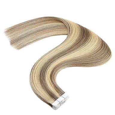 voordelige Extensions van echt haar-Neitsi Tape-in Extensions van echt haar Recht Mensen Remy Haar Extentions van mensenhaar Braziliaans haar Zwart Blond Lichtbruin 1pack uitbreiding nieuwe collectie Hot Sale Dames Medium bruin
