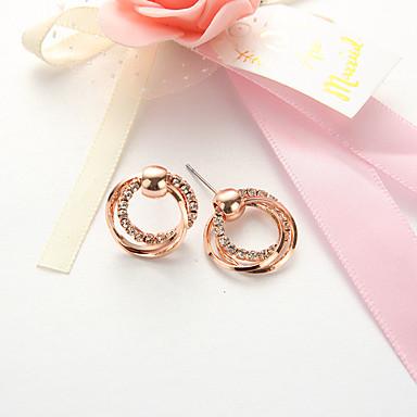 levne Dámské šperky-Peckové náušnice Twist Circle dámy Jednoduchý Evropský Módní Náušnice Šperky Růžové zlato Pro Denní