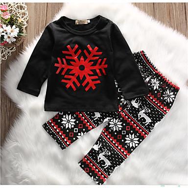 povoljno Odjeća za bebe-Dijete Djevojčice Aktivan Dnevno Print Dugih rukava Duga Pamuk Komplet odjeće Crn / Dijete koje je tek prohodalo