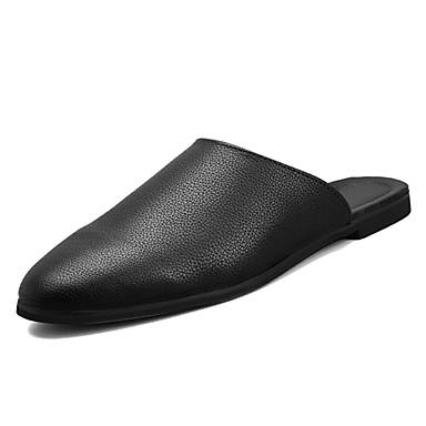 cheap Men's Backless Shoes-Men's Comfort Shoes PU Summer Clogs & Mules Black / White
