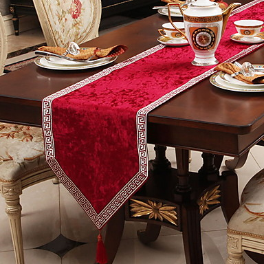 cheap Bakeware-Table Runner Silk Silky Contemporary Geometric Tabel cover Table decorations for Christmas Party / Evening Holiday New Year Square 33*180 cm milk white 1 pcs