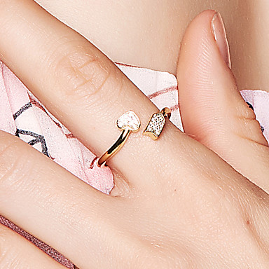 billige Motering-Dame Åpne Ring Kubisk Zirkonium Gull 18K Gullbelagt Metall S925 Sterling Sølv Dainty damer Koreansk Stevnemøte Valentine Smykker Hjerte