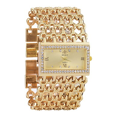 cheap Square & Rectangular Watches-Women's Wrist Watch Diamond Watch Gold Watch Quartz Luxury Chronograph Silver / Gold Analog - Gold Silver One Year Battery Life / Imitation Diamond / SSUO LR626