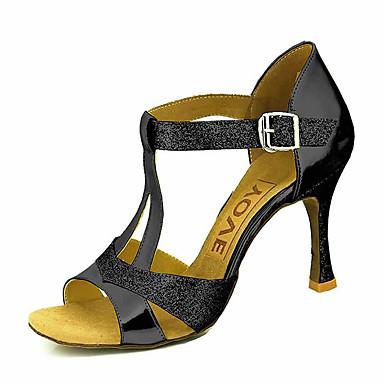 สำหรับผู้หญิง รองเท้าเต้นรำ PU ลาติน / Salsa หัวเข็มขัด / ผูกริบบิ้น รองเท้าแตะ / ส้น ส้นแบบกำหนดเอง ตัดเฉพาะได้ ดำ / แดง / เงิน / Performance / มืออาชีพ