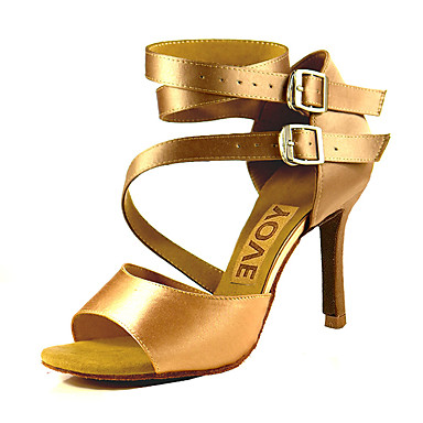 preiswerte YOVE-Damen Tanzschuhe Satin Schuhe für den lateinamerikanischen Tanz / Salsa Tanzschuhe Schnalle / Band-Bindung Sandalen / Absätze Maßgefertigter Absatz Maßfertigung Bronze / Mandelfarben / Hautfarben