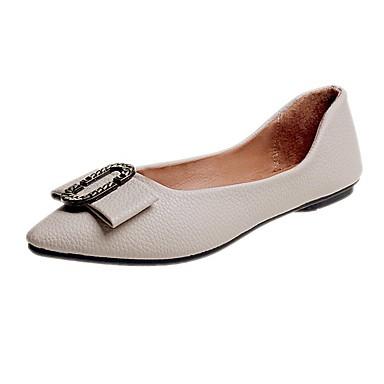 f4089e0db Mujer Zapatos Cuero Primavera   Verano Confort Bailarinas Tacón Plano Dedo  Puntiagudo Negro   Almendra ZSRzm