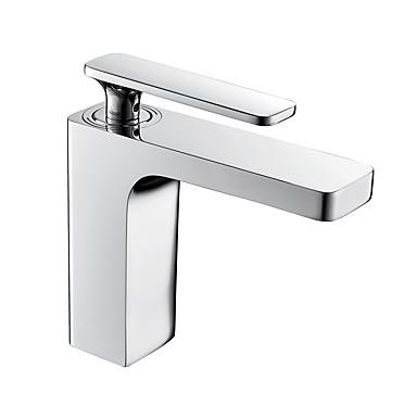 Baderom Sink Tappekran - Utbredt Krom Centersat Enkelt Håndtak Et HullBath Taps