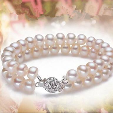levne Dámské šperky-Dámské Perla Sladkovodní perla Korálkový náramek Koule dámy Klasické Módní Perly Náramek šperky Bílá Pro Párty Denní