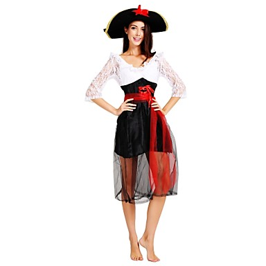 Pirates of the Caribbean Kostume Dame Voksne Halloween Halloween Karneval Maskerade Festival / høytid Polyester Drakter Svart Ensfarget Halloween