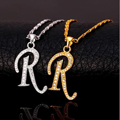 levne Dámské šperky-Pánské Kubický zirkon Náhrdelníky s přívěšky Monogram Alphabet Shape Písmeno Módní Hip Hop Měď Zlatá Stříbrná 55 cm Náhrdelníky Šperky Pro Dar Denní