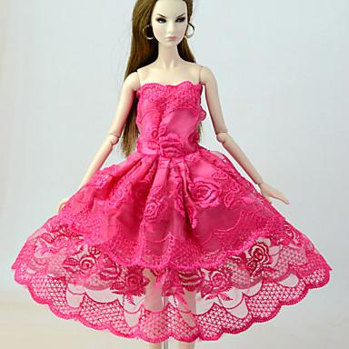 levne Doplňky pro panenky-Šaty pro panenky Šaty Pro Barbie Krajka Fuchsiová Len / směs bavlny Krajka Směs lnu a polyesteru Šaty Pro Dívka je Doll Toy