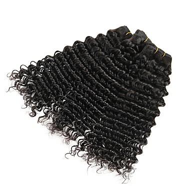 3 pakker Indisk hår Bølget Ekte hår Menneskehår Vevet Forlengere Hairextensions med menneskehår Naturlig Farge Hårvever med menneskehår Ekstensjon Hot Salg Hairextensions med menneskehår / 8A